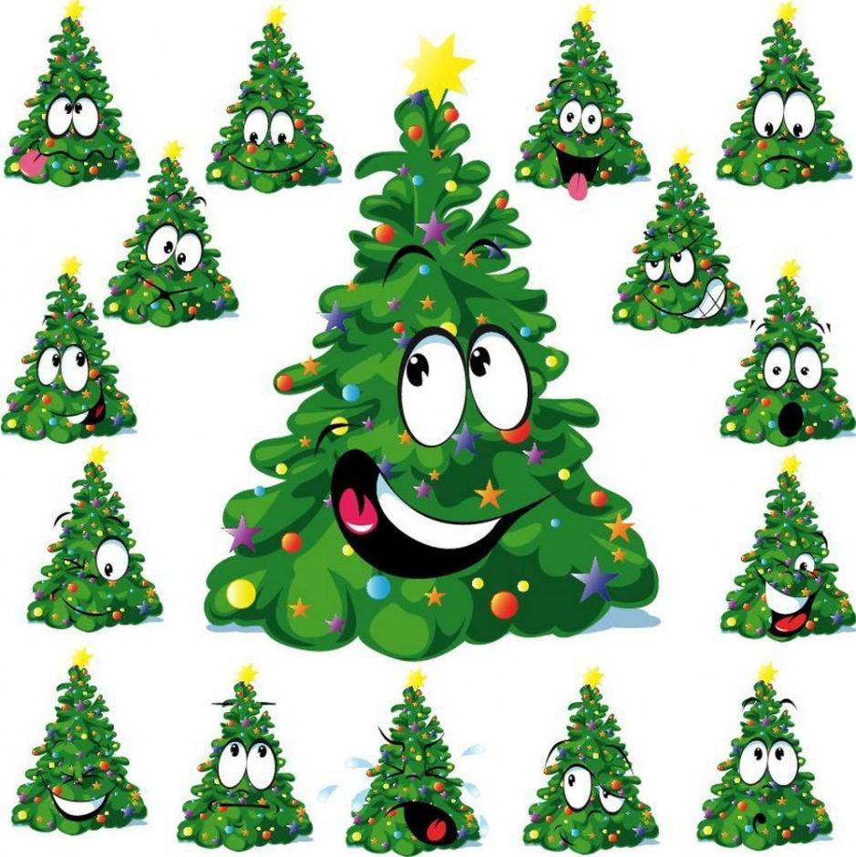 Нарисованные елки к новому году